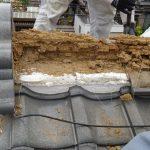 古い日本瓦屋根棟部・耐風対策 冠瓦1本伏せで葺き直し【愛知県名古屋市】