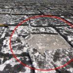 スレート屋根25年経過した劣化比較 アスベスト有無・南北比較です。