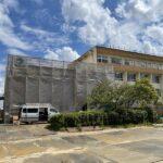 港小学校の校舎増築工事が順調に進んでいます